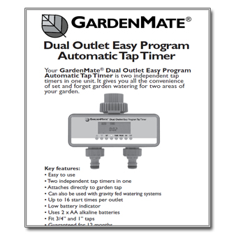 Garden Mate Dual Outlet Tap Timer Controller Manual