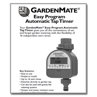 Garden Mate Single Outlet Tap Timer Manual