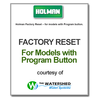 Holman Factory Reset for Models with program button