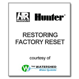 Hunter Controller Factory Reset