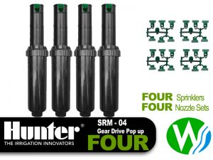Hunter SRM Gear Drive Pop Up Sprinkler 4 Pack